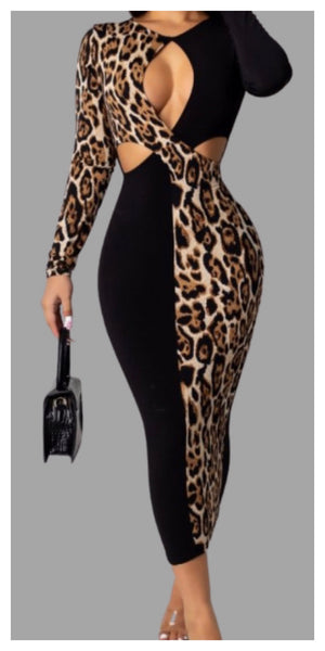 Just Enough Cut Out Slim Maxi Dress Leopard print - Sexy~N~Snappy