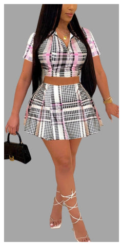"""As If"" Mini Plaid Skirt Two Piece Set - Sexy~N~Snappy"