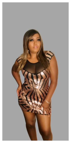 Gold Sequin Mesh Cutout Sexy Mini Dress - Sexy~N~Snappy