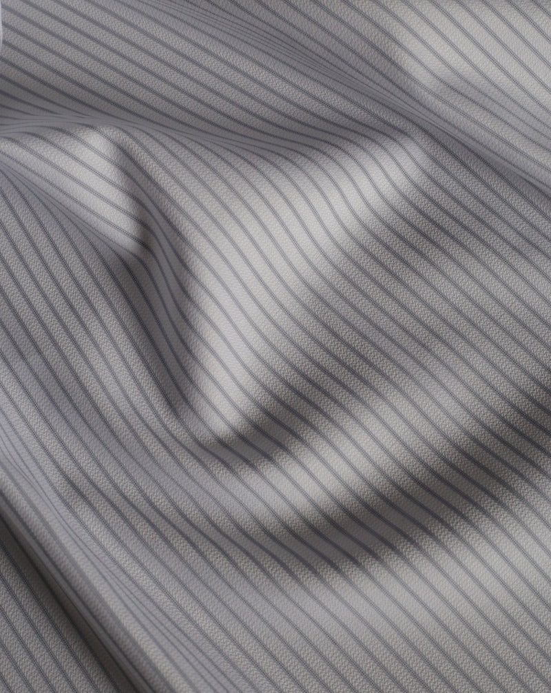 Wrinkle Free Grey Stripe Cotton Shirting - House