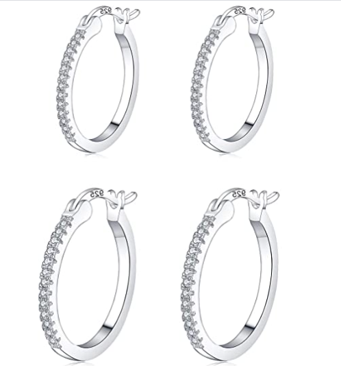 Sterling Silver Hoop Earrings For Women | Hypoallergenic Cubic Zirconia Small Hoop Earrings for Girl Gifts (13/15mm)