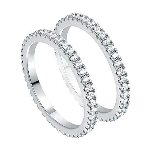 Set of Rings 18K White Gold Plated Cubic Zirconia Simulated Diamond Eternity Stackable Bands for Women Men Couple Engagement Promise Rings