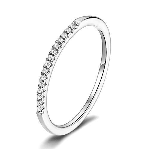 Presentski Stackable Rings 925 Sterling Silver Simple Hypoallergenic CZ Stimulated Diamond Stacking Hoop Ring Eternity Bands