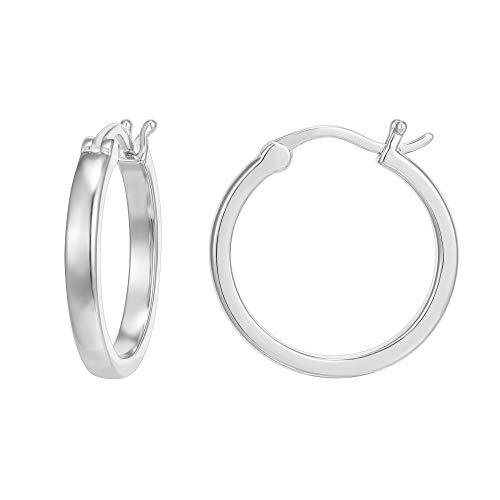 PAVOI 14K White Gold Plated 925 Sterling Silver Post Lightweight Hoops | White Gold Hoop Earrings for Women