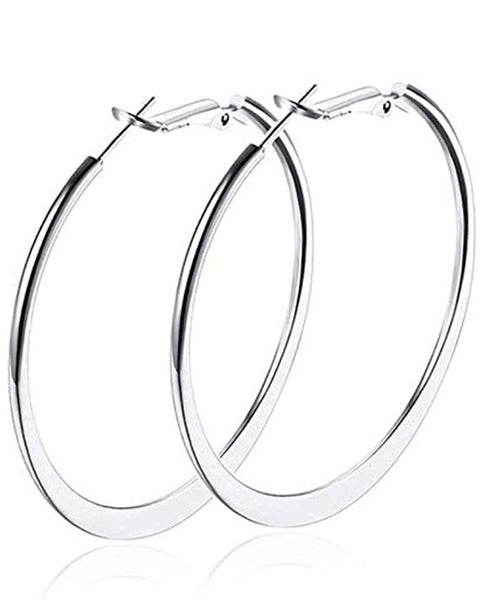 Womens Hoop Earrings,Silver Hoops Earrings for Women,18K Gold Polished Big Round Circle Earrings Fashion Jewelry Ladies Large Earrings Hoops