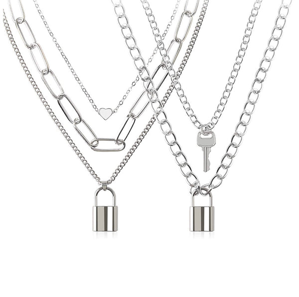 Chains Necklace for Eboy Egirl Men Male Emo Goth Women Teen Girls Boys,2 Layered Lock Key Pendants Necklaces Set,Stainless Steel Jewelry Pack for Pants Punk Play