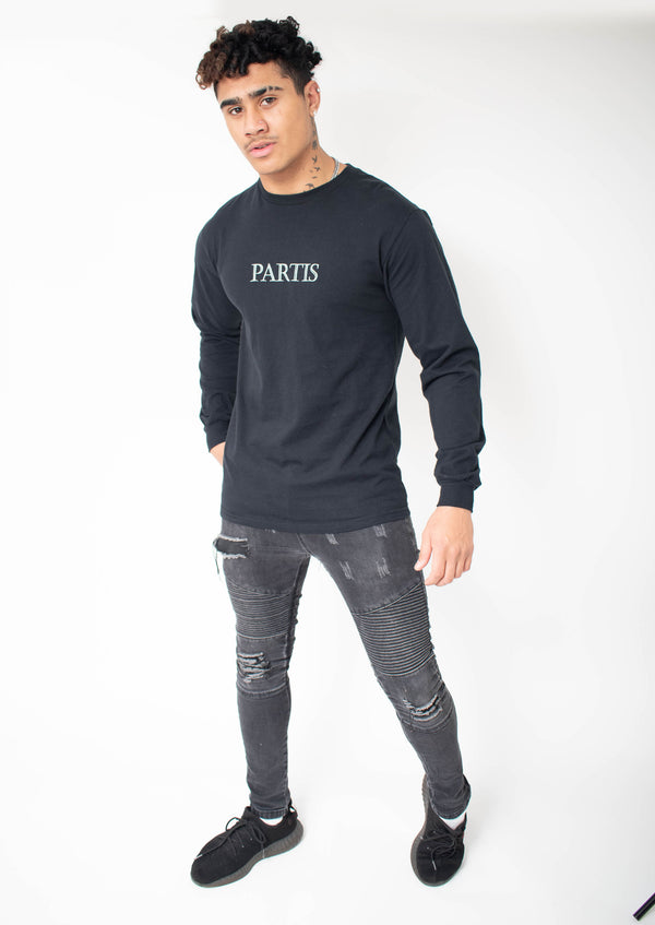 Long Sleeve Black T-shirt With Original PARTIS Embroidery