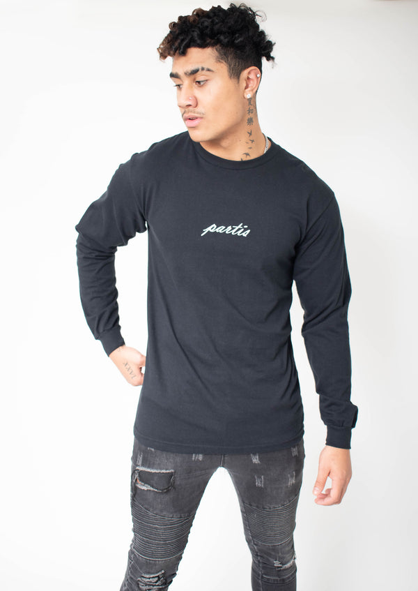 Long Sleeve Black T-shirt with PARTIS Calligraphic Embroidery