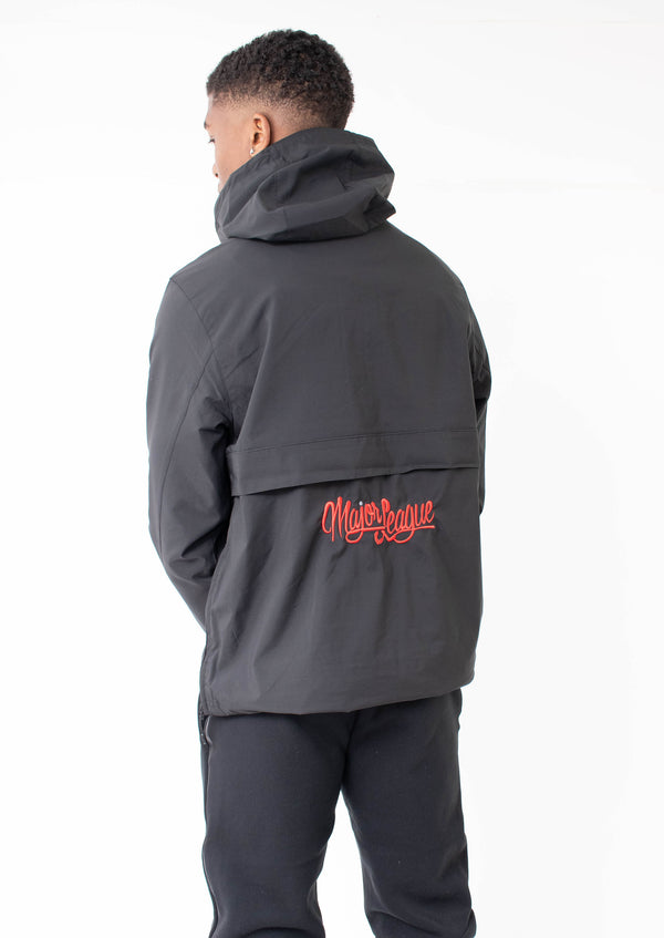 Major League - Embroidered Rain Coat Black (Red)