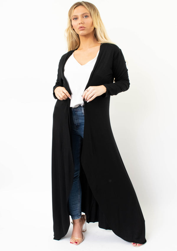 Longline Cardigan In Black