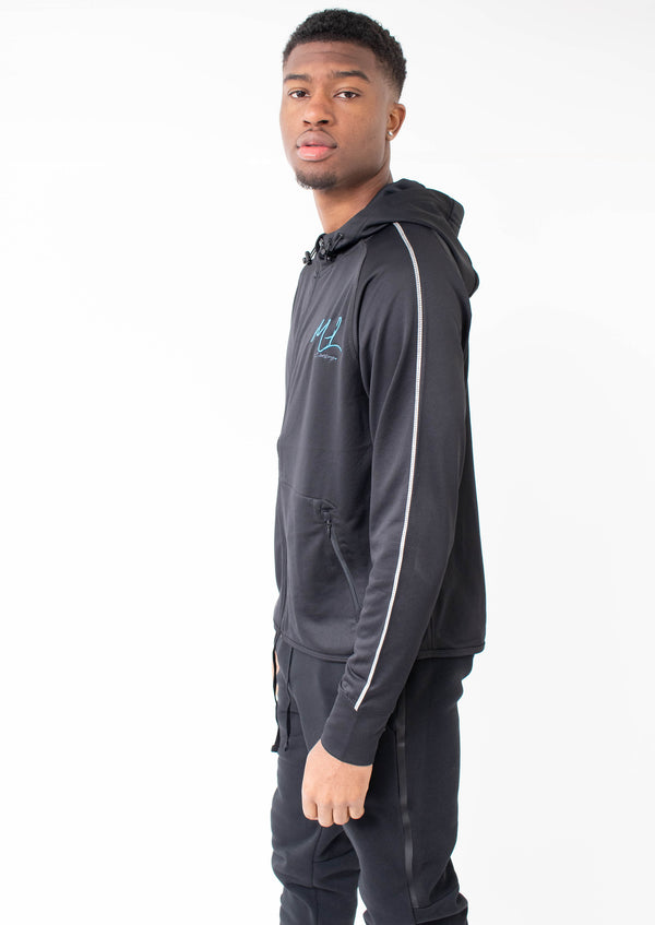 Major League - Embroidered Poly Hoodie Black (Blue)