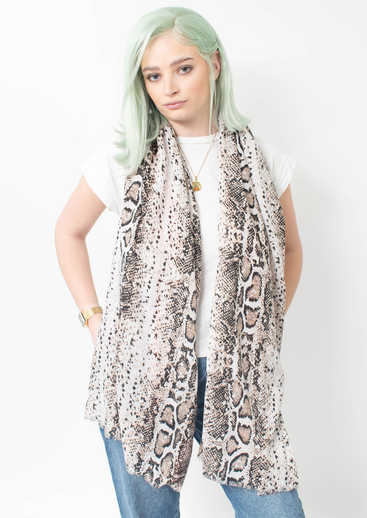 Future Apparel - Beige Snake Print Scarf With Orange Stripe