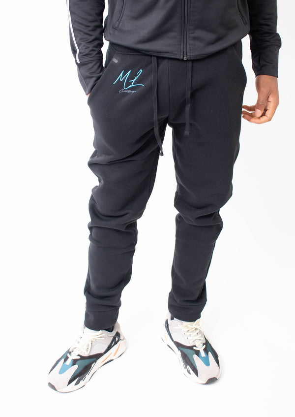 Major League - Embroidered Jogging Bottoms Black (Blue)