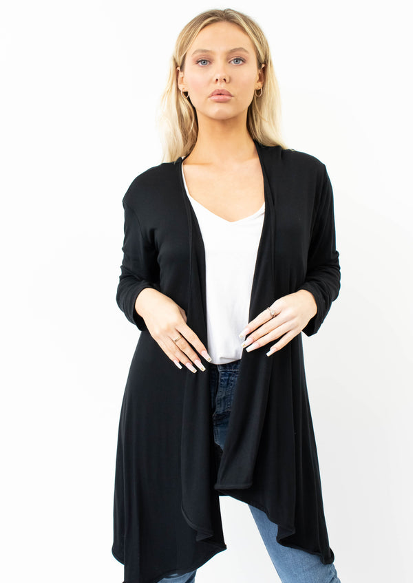 Jersey Waterfall Cardigan In Black