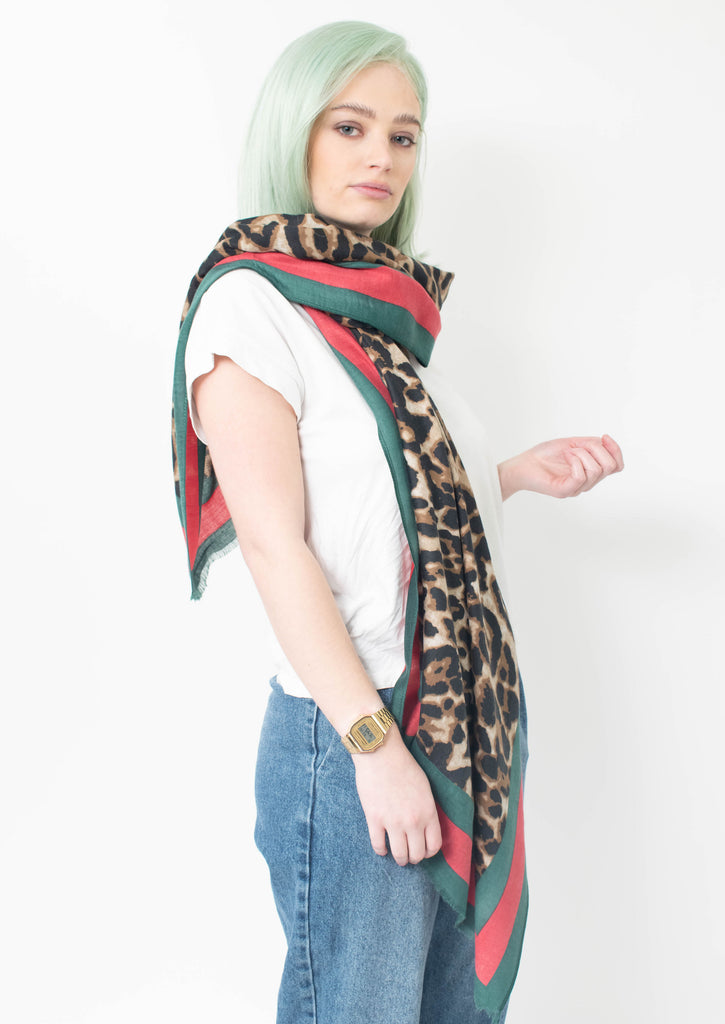 Future Apparel - Leopard Print Frayed Scarf With Green And Red Border