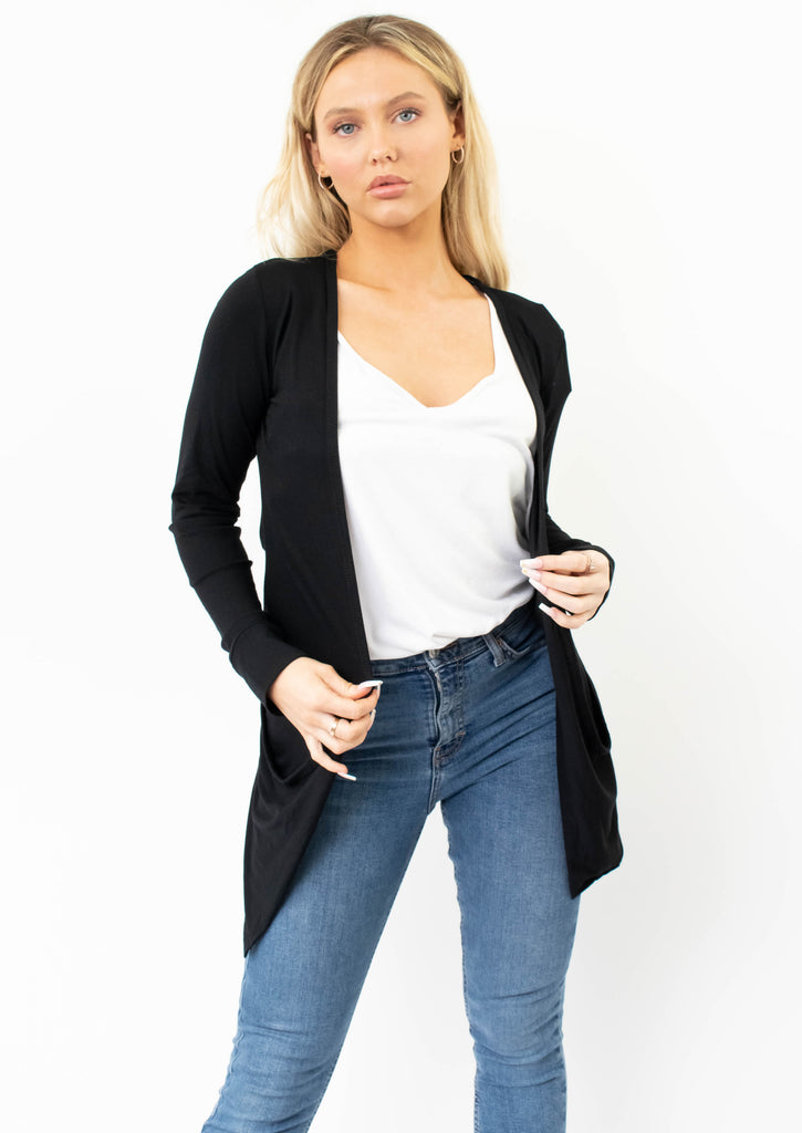 Jersey Cardigan With Pockets In Black