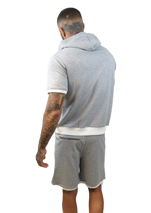 NSW GREY WITH WHITE TRIM SHORT SLEEVE HOODIE AND SHORTS SET