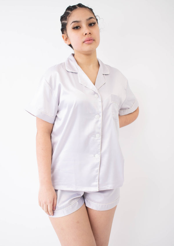 Matte Silk Satin Short sleeve Top & Short Nightwear Set