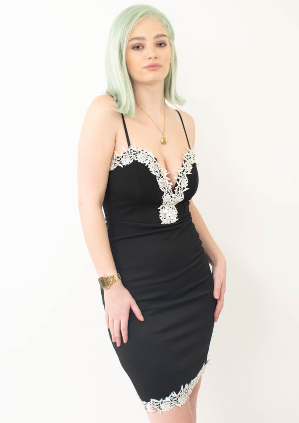 Future Apparel - Black With White Lace Dress