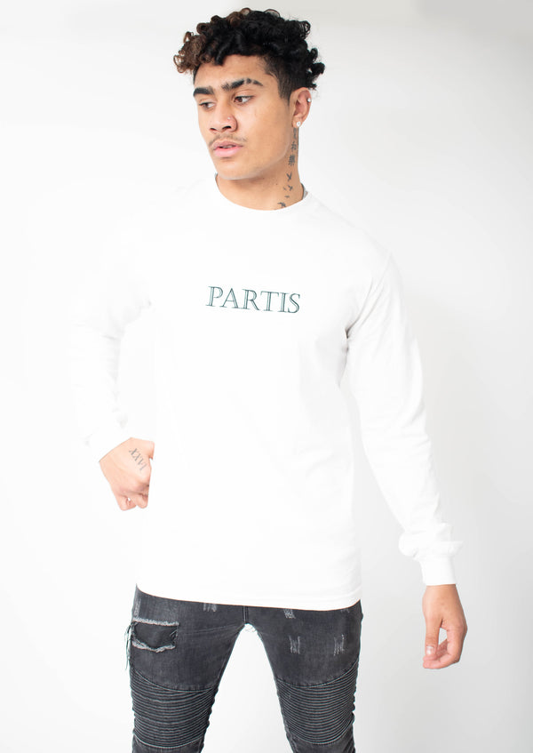 Long Sleeve White T-shirt with Original PARTIS Embroidery