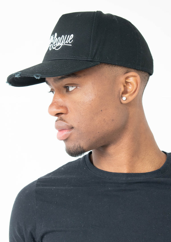 Major League - Embroidered Torn Cap Black (White)