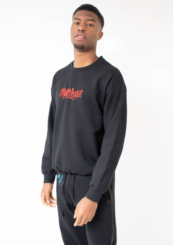 Major League - Embroidered Sweater Black (Red)
