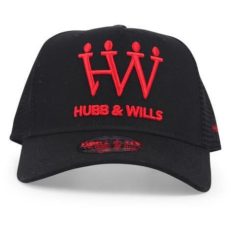 Hubb and Wills Black/Red Trucker Hat - STREET SECRET