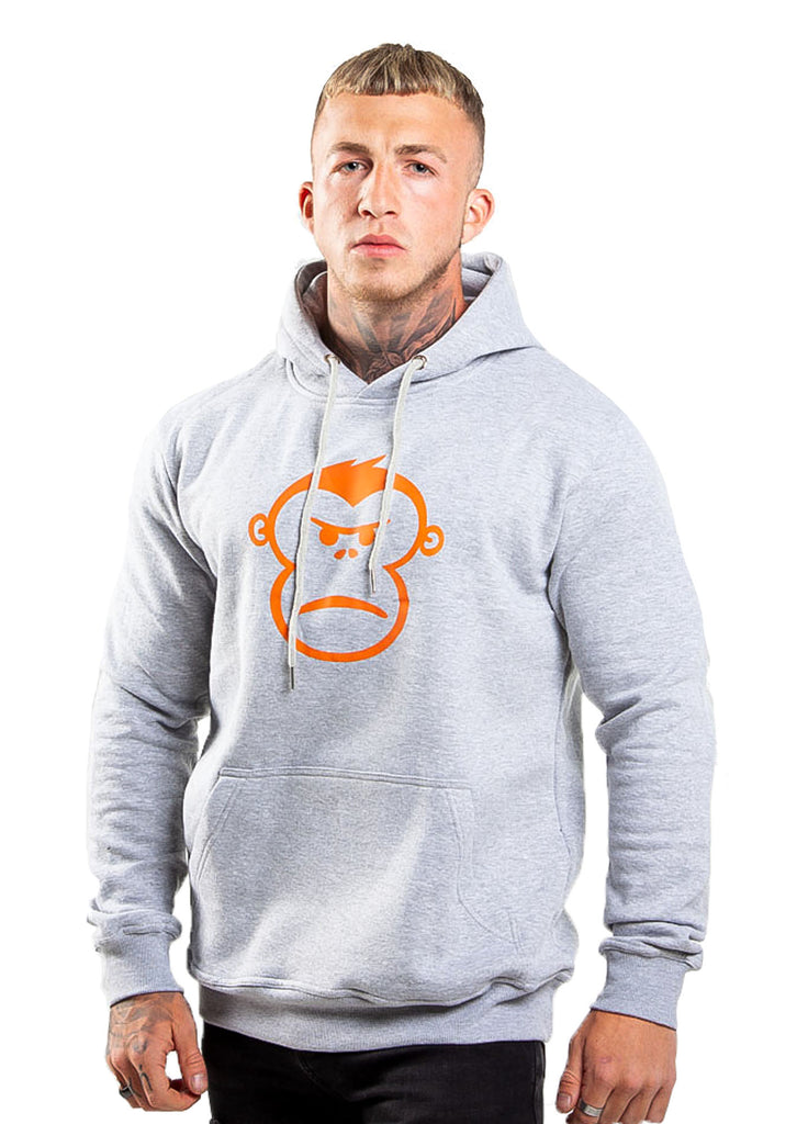Orange Monkey Grey Pull Over Hoodie - STREET SECRET