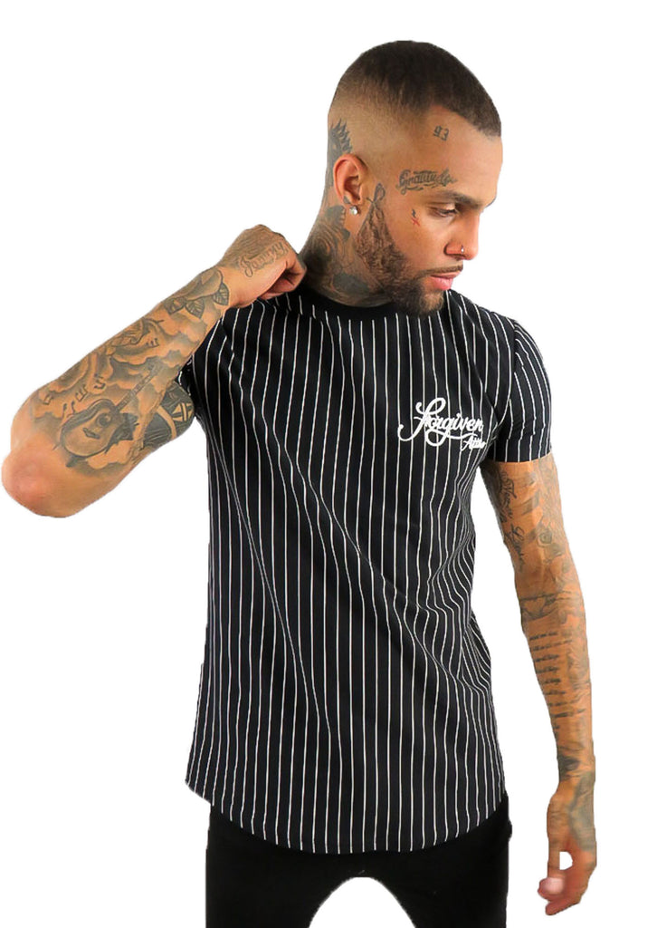 FORGIVEN ATTIRE PINSTRIPED T-SHIRT - STREET SECRET