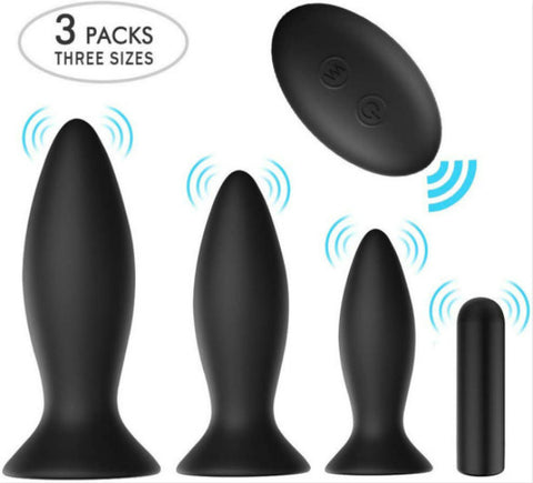 Anal Plug Male Prostate Massager Vibrating Butt Plug 3Pcs Training Kit