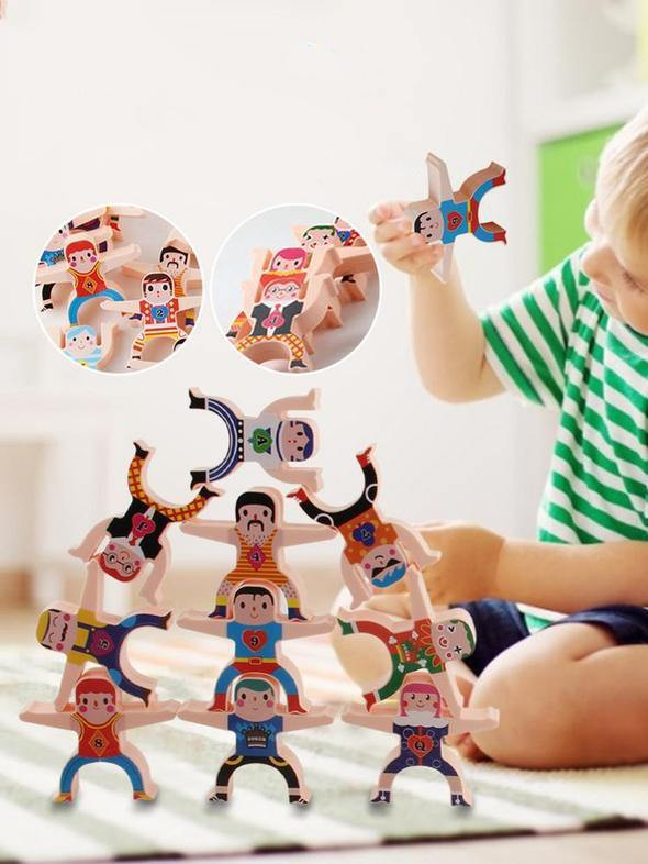 Acrobatic Hercules Wooden Stacking Toy Set - tinyjumps