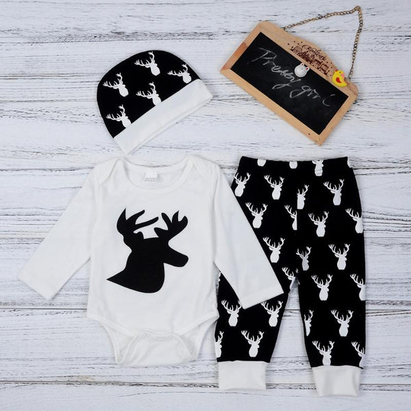 Monochrome Reindeer Romper Outfit - tinyjumps