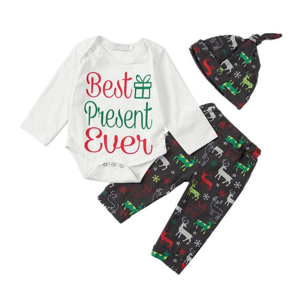 Christmas Present Romper Outfit - tinyjumps