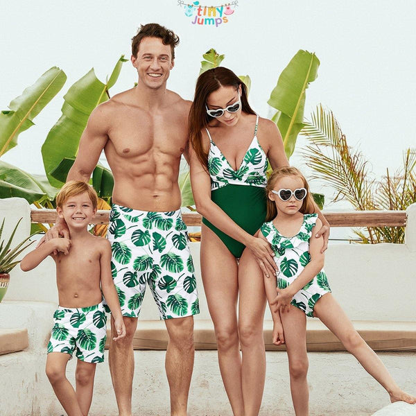 Banana Leaf Family Swimsuits - tinyjumps