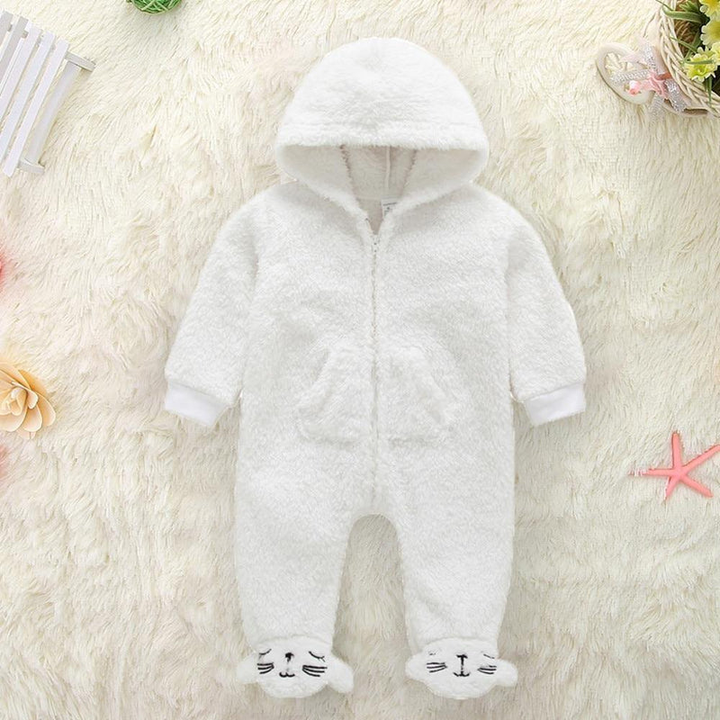 Soft Plush Polar Bear Jumpsuit - tinyjumps