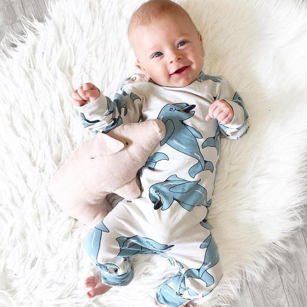 Blue dolphin Romper - tinyjumps
