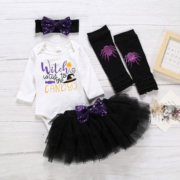 Baby Girl Halloween Witch Romper Outfit - tinyjumps