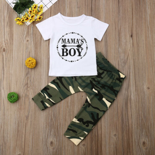 White T-shirt with Army Pants - tinyjumps