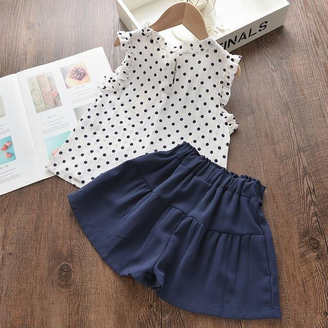 Polka Dots Sleeveless Outfit - tinyjumps