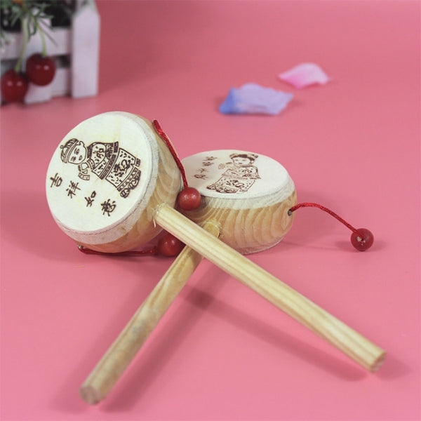 Wooden Drum Rattle - tinyjumps