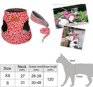 Cat Chest Strap Leash, Style Clothes, Adjustable, Soft Padded Vest for Kittens