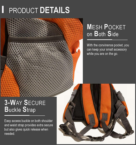 Image of Pet Backpack Carrier Adjustable, Padded Shoulder Straps, Durable Mesh Breathable Hands-Free
