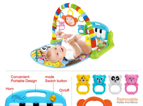 Baby Play Mat with Piano Keyboard and Cute Animal Playmate