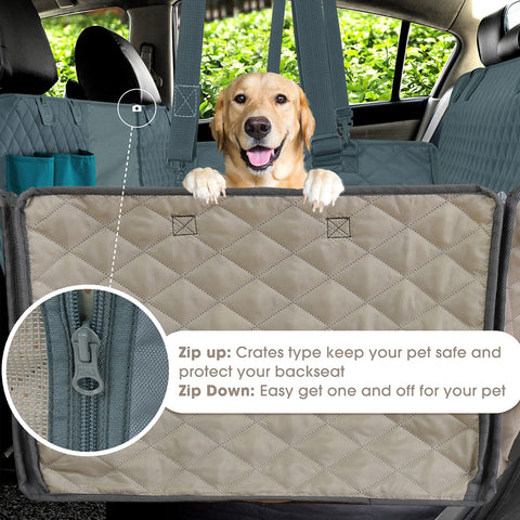 Image of Dog Back Seat Cover, 100% Waterproof Pet Seat Cover with Mesh Visual Window and Storage Pockets