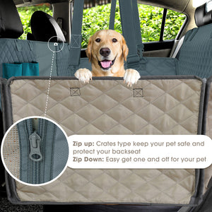 Dog Back Seat Cover, 100% Waterproof Pet Seat Cover with Mesh Visual Window and Storage Pockets