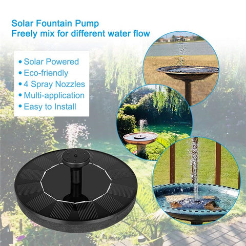 Free Standing Floating Solar Powered Water Fountain Pump for Bird Bath