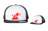 Kung-Fu You Jetski! Flat Bill Trucker Hat- Red