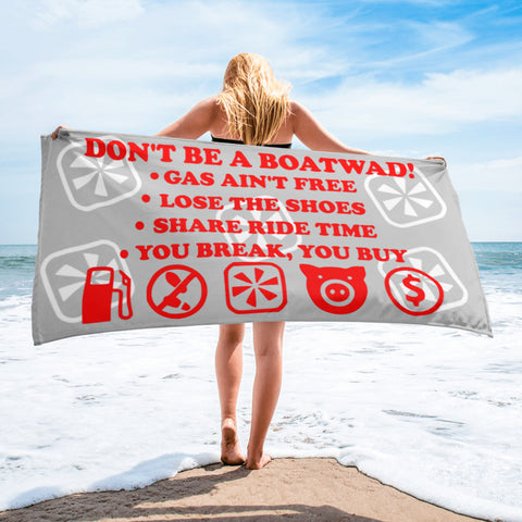 Boatwad!™  Red/Grey Towel - The Wakeboat Life