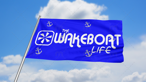 The Wakeboat Life Flag: Blue