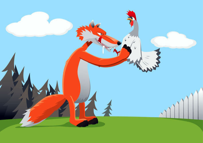 Cartoon of fox about to eat chicken